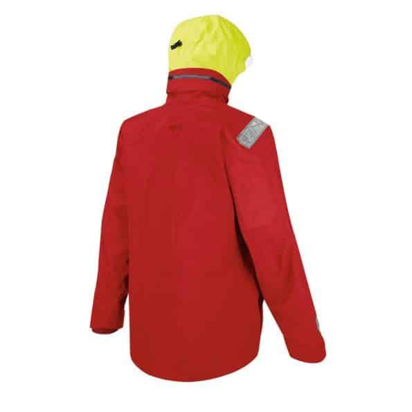 back of red sailing jacket